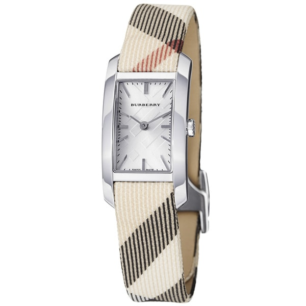 Burberry Women's 'Heritage' Silver Dial Nova Check Strap Watch