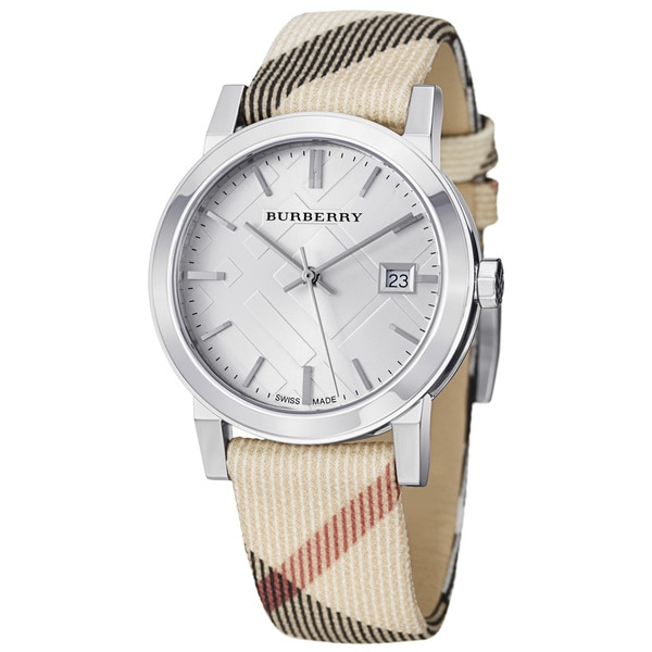 Burberry Women's 'Large Check' Silver Dial Nova Check Strap Watch