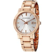 Burberry Men's 'Large Check' Silver Dial Rose Gold Steel Watch