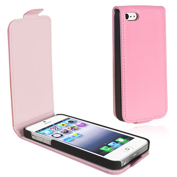 INSTEN Light Pink Leather Flip Phone Case Cover for Apple iPhone 5/ 5S