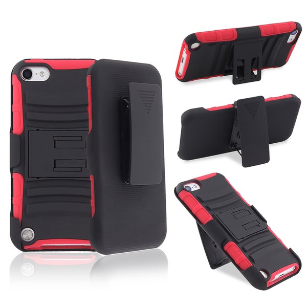 BasAcc Red/ Black Hybrid Case/ Stand for Apple iPod Touch Generation 5
