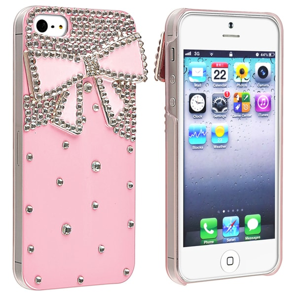 BasAcc Pink with Diamond Ribbon Snap-on Case for Apple iPhone 5