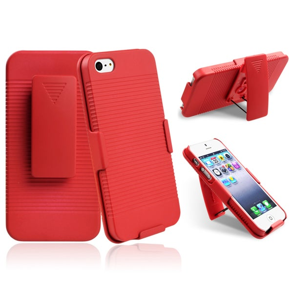 INSTEN Red Swivel Holster with Stand for Apple iPhone 5