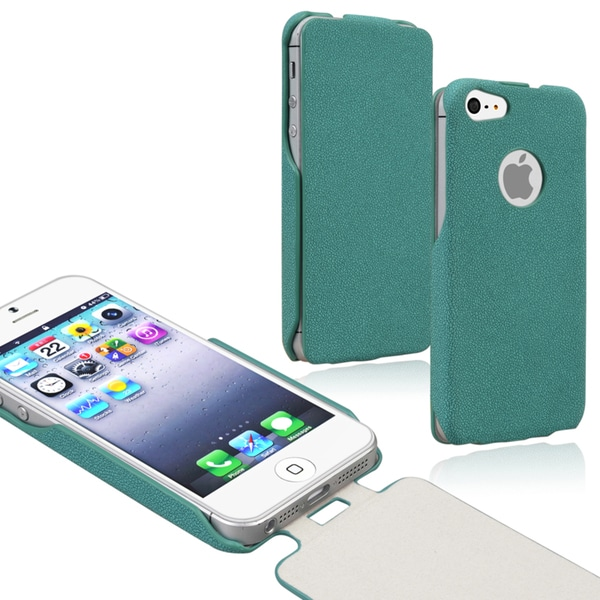 BasAcc Green Leather Flip Case for Apple iPhone 5