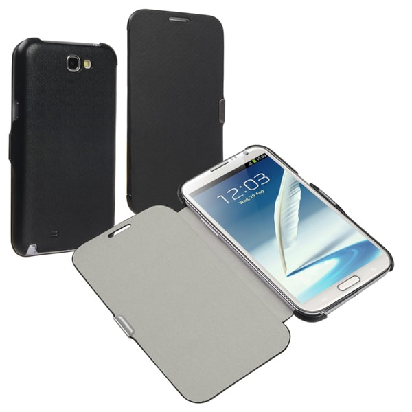 INSTEN Black Leather Phone Case Cover with Flap for Samsung Galaxy Note II N7100