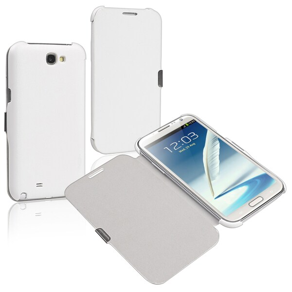 BasAcc White Leather Case with Flap for Samsung Galaxy Note II N7100