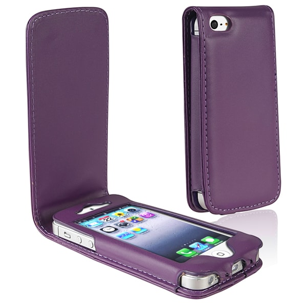BasAcc Purple Leather Case for Apple iPhone 5/ 5S