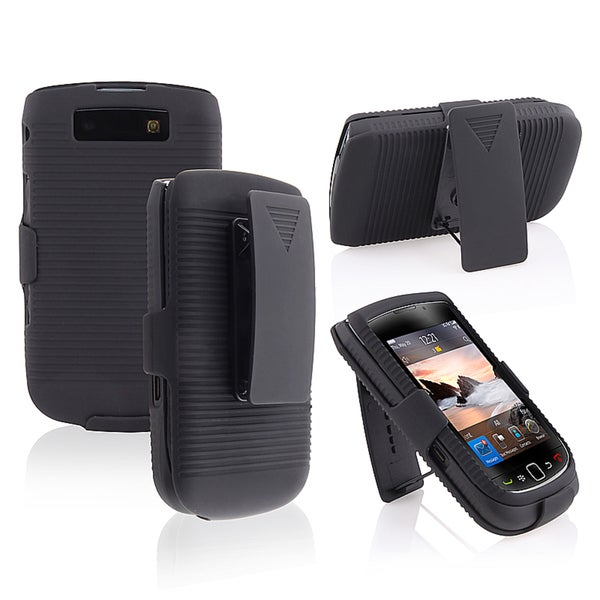 BasAcc Black Holster with Stand for BlackBerry 9800/ 9810