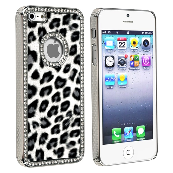 BasAcc Grey Leopard with Diamond Snap-on Case for Apple iPhone 5