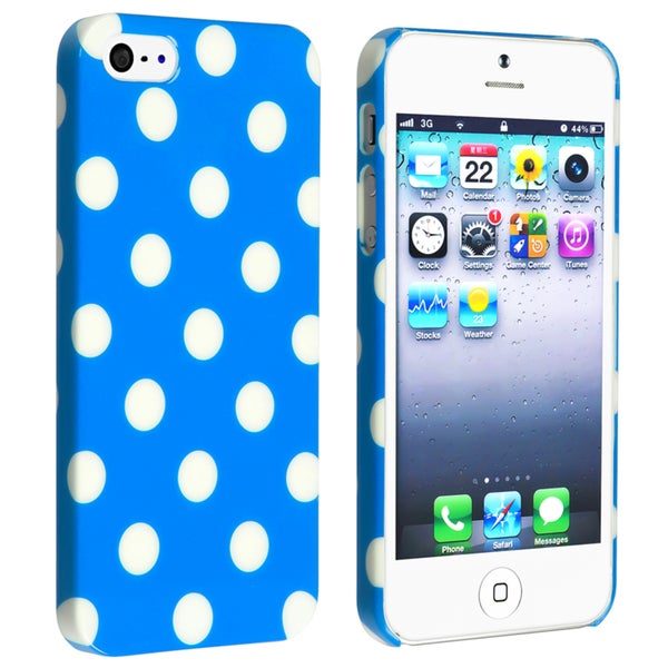 INSTEN Sky Blue with White Polka Dot Snap-on Phone Case Cover for Apple iPhone 5