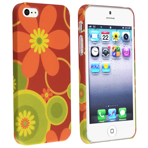 BasAcc Red/ Flower Snap-on Rubber Coated Case for Apple® iPhone 5
