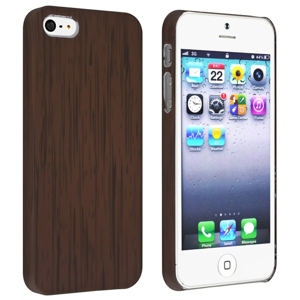 BasAcc Wood Pattern Snap-on Rubber Coated Case for Apple iPhone 5