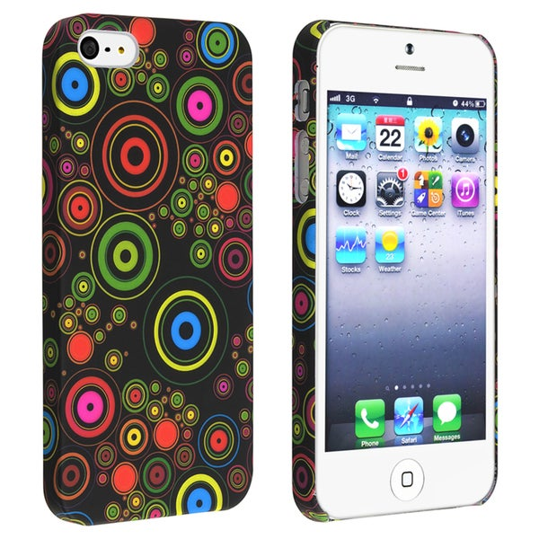 BasAcc Black/ Circle Snap-on Rubber Coated Case for Apple® iPhone 5