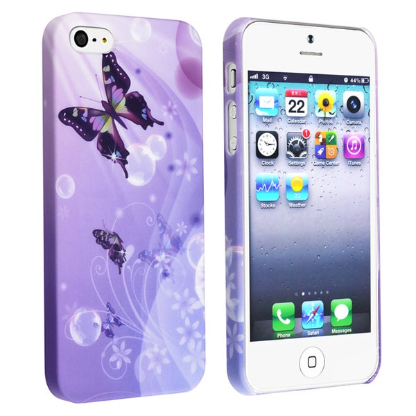 BasAcc Purple/ Butterfly Rubber Coated Case for Apple® iPhone 5