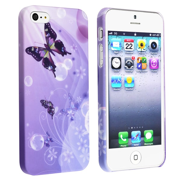 BasAcc Purple/ Butterfly Rubber Coated Case for Apple iPhone 5
