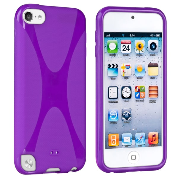 Insten Purple X Shape TPU Rubber Candy Skin Matte Case Cover For Apple iPod Touch 5th/ 6th Gen