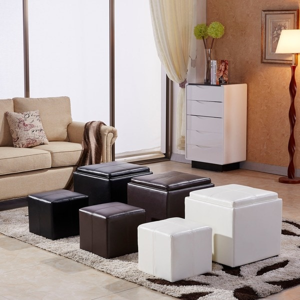 Classic 2-piece Storage Ottoman with Serving Tray - Classic 2-piece Storage Ottoman With Serving Tray - Free Shipping