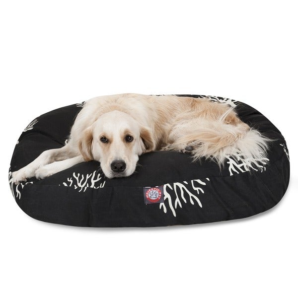 Majestic Pet Black/ Coral Round Dog Bed