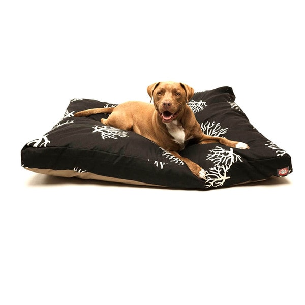Majestic Pet Black/ Coral Rectangle Dog Bed