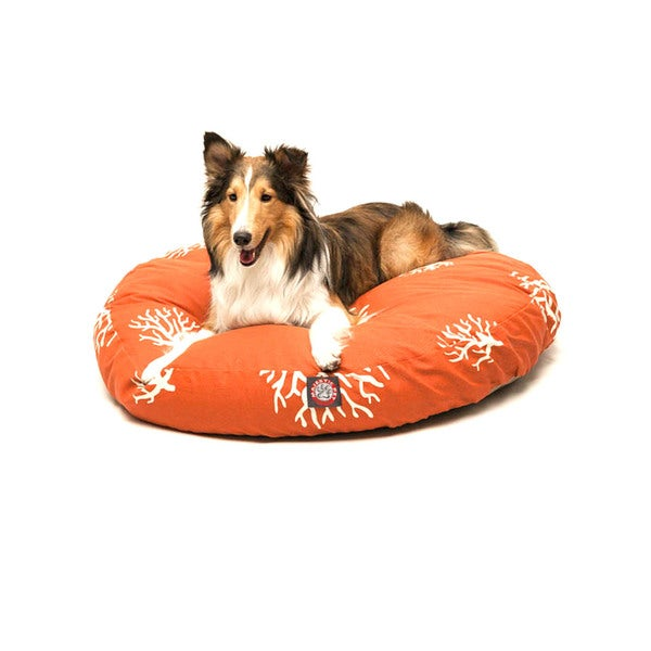 Majestic Burnt Orange/ Coral Round Pet Bed