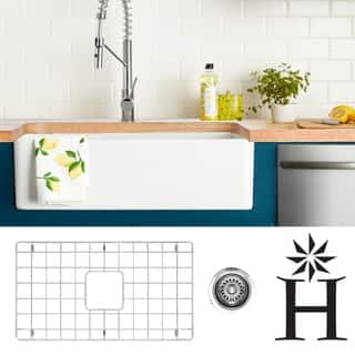 Highpoint Collection 30-inch Fireclay Farmsink with Grid and Drain