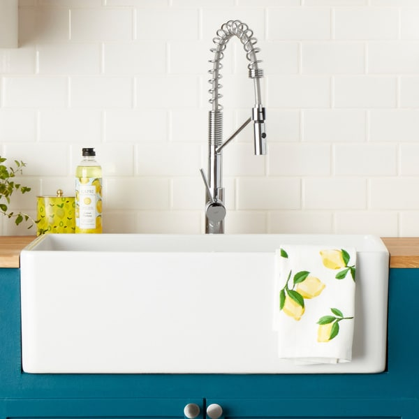 Great Highpoint Collection 30 Inch Single Bowl Fireclay Farmhouse Kitchen Sink  With Grid And Drain