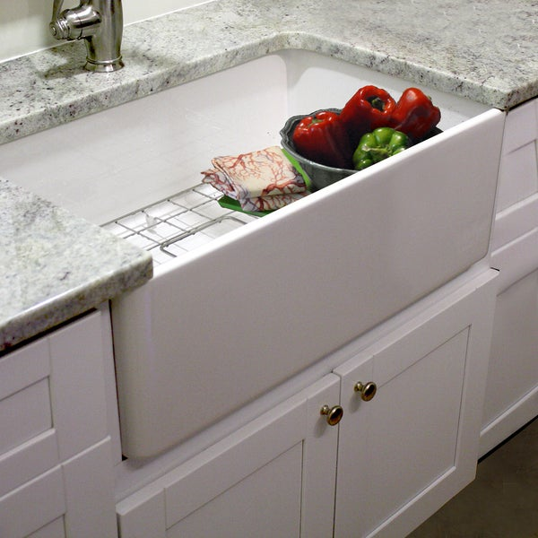 ... -inch Single Bowl Fireclay Farmhouse Kitchen Sink with Grid and Drain