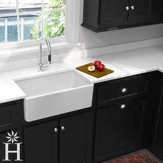 Highpoint Collection 30 Inch Single Bowl Fireclay Farmhouse Kitchen Sink  With Grid And Drain
