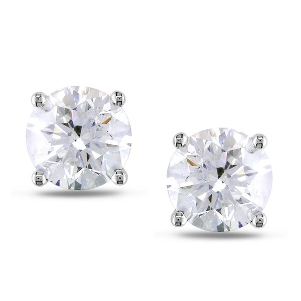 Miadora 18k White Gold 4ct TDW Solitaire Earrings