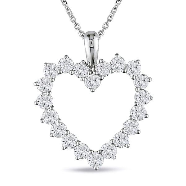 Miadora Signature Collection 14k White Gold 2ct TDW Diamond Heart Necklace (G-H, SI1-SI2)