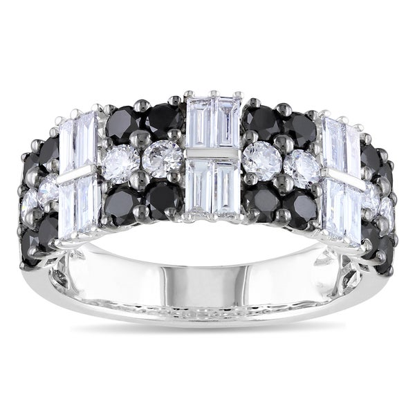 Miadora Signature Collection 14k White Gold 1 7/8ct TDW Black and White Diamond Ring