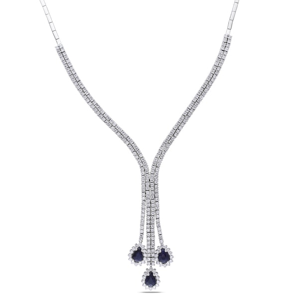 Miadora 14k Gold Sapphire and 5 3/8ct TDW Diamond Necklace (G-H, SI1-SI2)