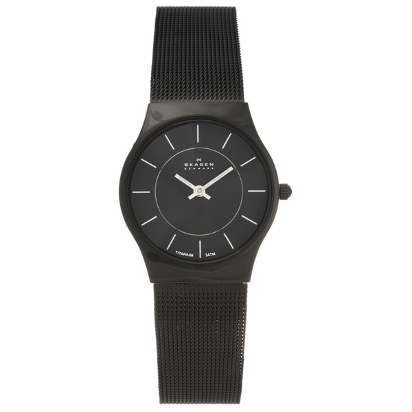 Skagen Women's' Titanium Black Slimline Mesh Watch