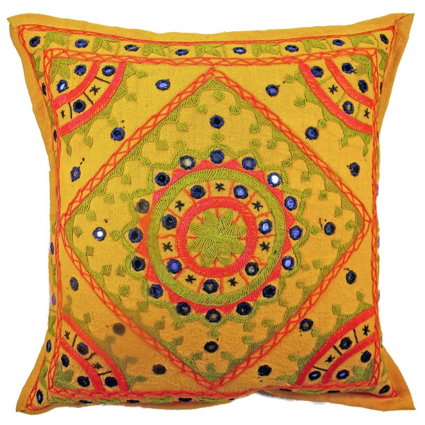 Mustard Yellow Hand stitched Geometric Multi Color Cushion Cover (India)