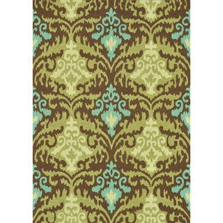 Hand-hooked Charlotte Brown/ Green Rug (5' x 7'6)