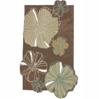 nuLOOM Handmade Carved Floral Brown New Zealand Wool Rug (5' x 8')