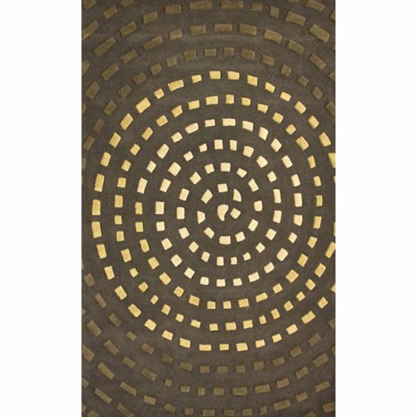 nuLOOM Handmade Vortex Green New Zealand Wool Rug