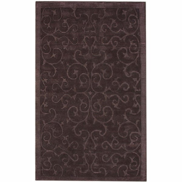 nuLOOM Handmade Swirls Brown Faux Silk / Wool Rug