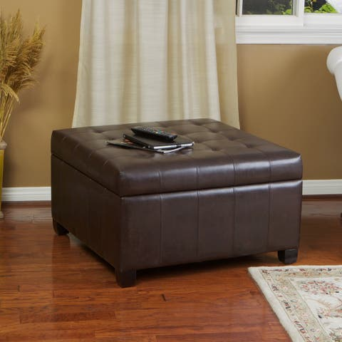 Alexandria Contemporary Tufted Bonded Leather Storage Ottoman by Christopher Knight Home
