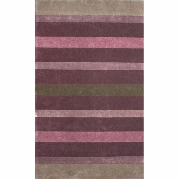nuLOOM Handmade Stripes Multi Faux Silk / Wool Rug (5' x 8')