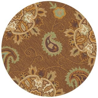 Hand-hooked Charlotte Light Brown Rug (3' x 3')