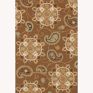 Hand-hooked Charlotte Light Brown Rug (3'6 x 5'6)