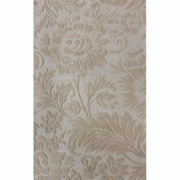 nuLOOM Handmade Floral Natural Wool Rug