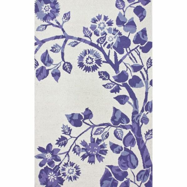 nuLOOM Handmade Floral Ivory Wool Rug