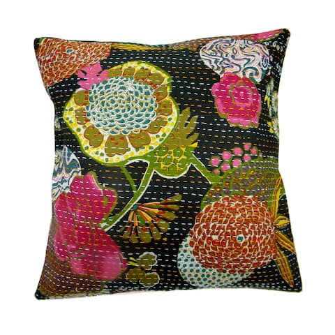 Handmade Floral Indian Kantha Work Cotton Pillow Cover