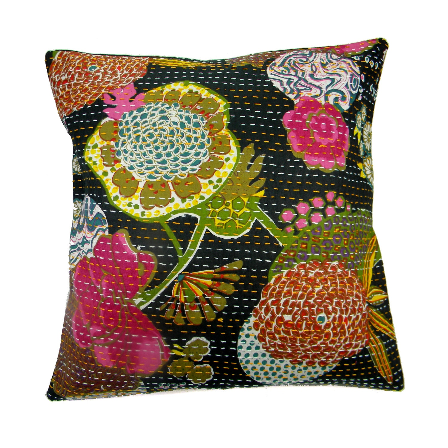 Handmade Ethnic Kantha Work Pillow Cover (India) (Kelly g...