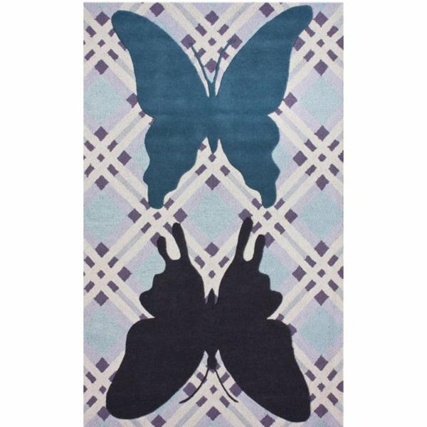 nuLOOM Handmade Kids Butterfly Light Blue Wool Rug - 5' x 8'