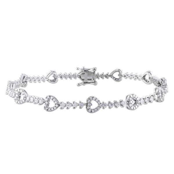 Miadora 10k Gold 3/4ct TDW Diamond and Sapphire Bracelet (G-H, I1-I2)