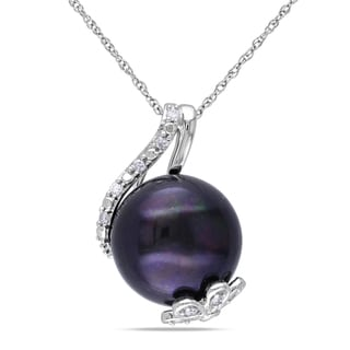 Miadora Sterling Silver Black Cultured Freshwater Pearl and Diamond Accent Necklace (12-12.5 mm)
