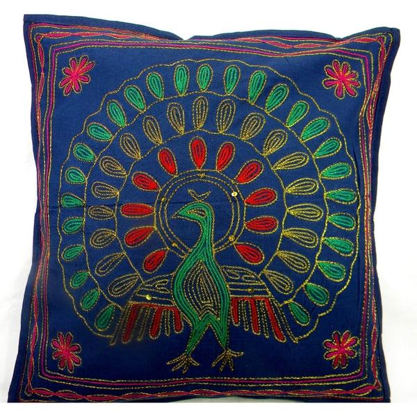 Handmade Multi Colored Peacock Cushion Cover (India)